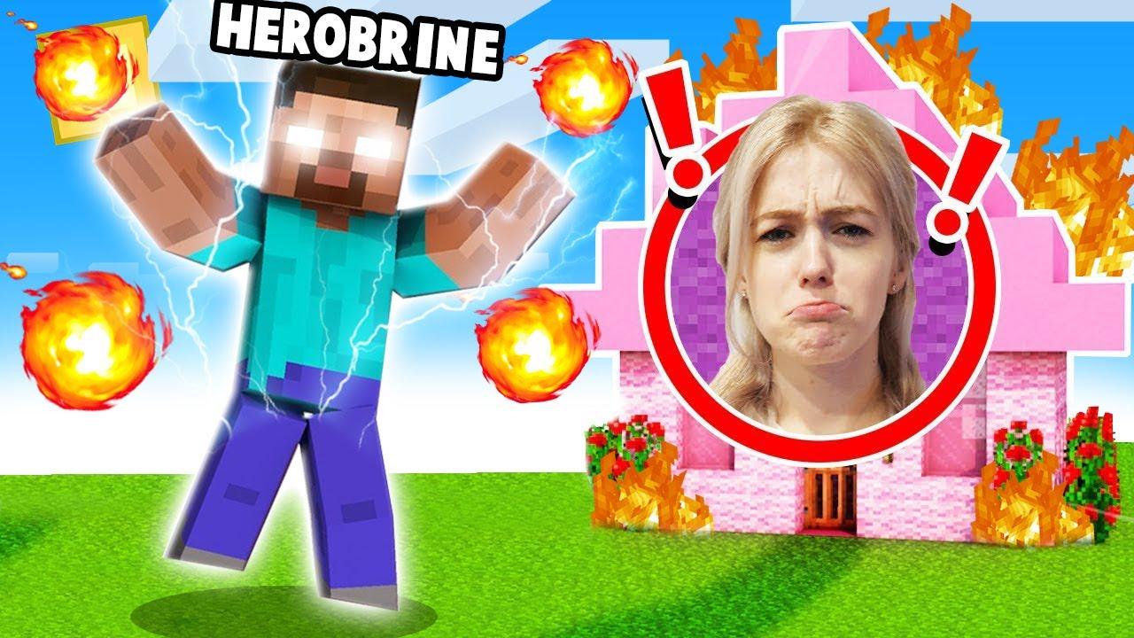 TROLLUJĘ MOJĄ DZIEWCZYNĘ PRZEBRANY ZA HEROBRINE w Minecraft!   Vito i Bella