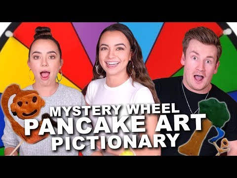 MYSTERY WHEEL PANCAKE ART PICTIONARY CHALLENGE - Merrell Twins ft Oli White