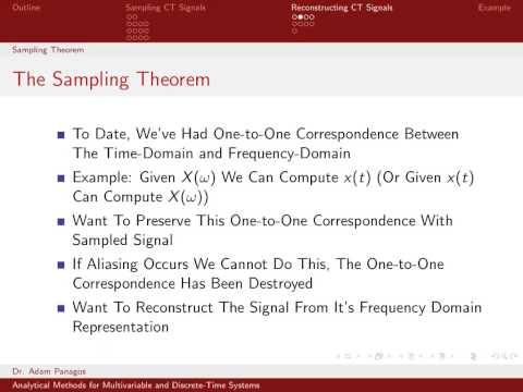 Sampling Signals (8/13) - The Sampling Theorem