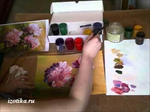 Как нарисовать пион поэтапно красками
