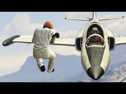 HE GOT STUCK ON MY WING! (GTA 5 Funny...