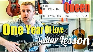 Queen - One Year Of Love - Acoustic Guitar Tutorial Lesson
