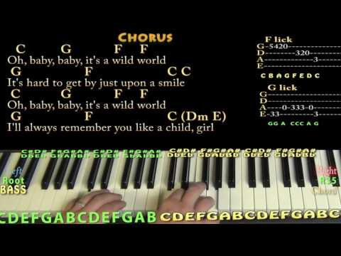 Wild World (Cat Stevens) Piano Cover Lesson with Chords/Lyrics - Munson