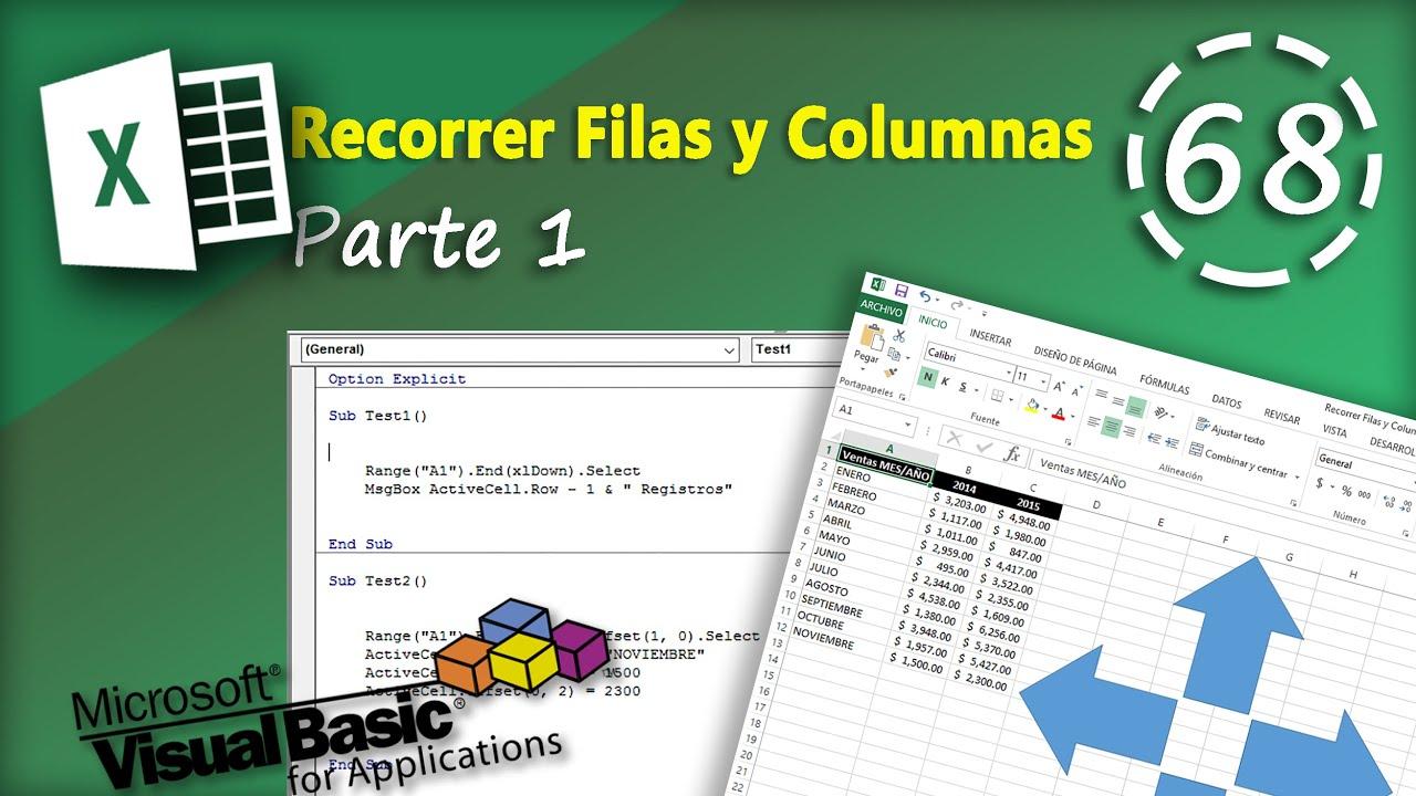 Recorrer Filas Y Columnas Parte 1 Vba Excel 2013 68 Youtube