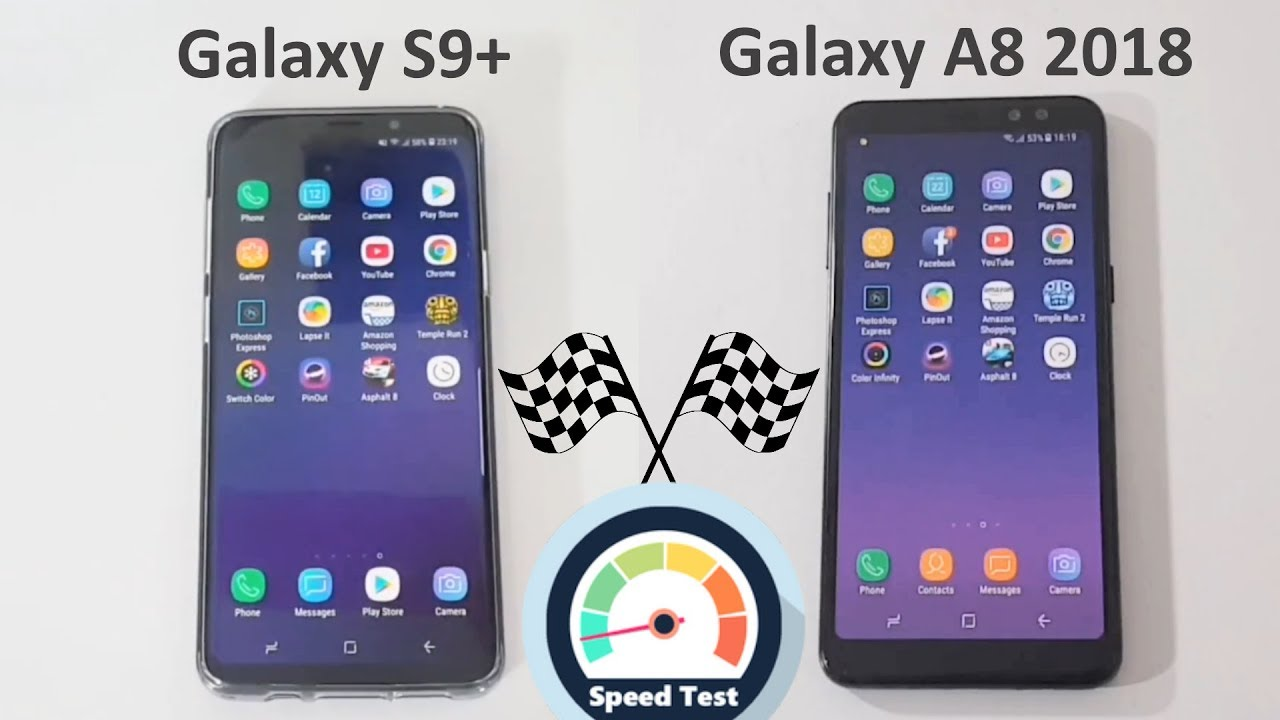 samsung galaxy s9 plus vs galaxy a8 2018 speed test. Black Bedroom Furniture Sets. Home Design Ideas