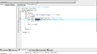 C++ Program - Print right Triangle using  For Loops