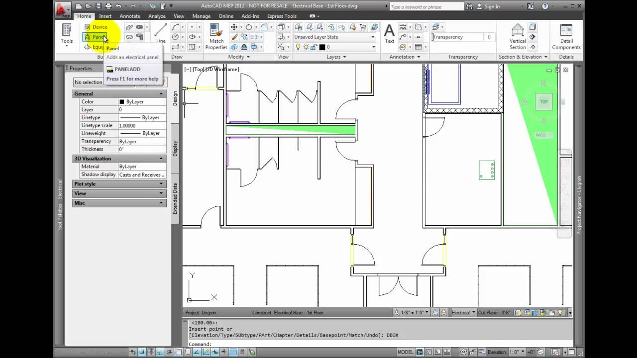 autocad mep 2012 tutorial adding electrical equipment and panels youtube [ 1280 x 720 Pixel ]