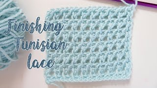 In this video I show you quickly how to finish off your Tunisian crochet using a slip stitch for a neater edge.At the very end just cut your yarn and pull it through the ...