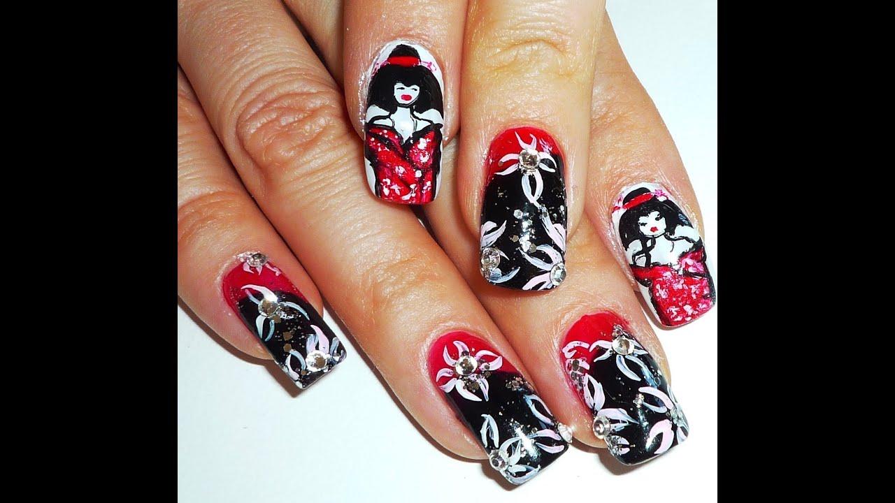 Geisha and Kimono Japanese style Nail Art Design - YouTube