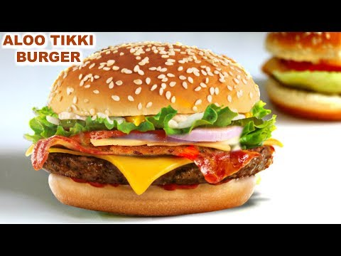 Veg Aloo Tikki Burger in Hindi | वेज आलू टिक्की बर्गर | McDonald Style | CookWithNisha