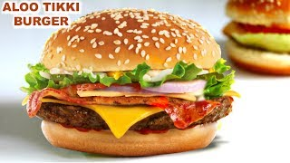 Download Video Veg Aloo Tikki Burger in Hindi | वेज आलू टिक्की बर्गर | McDonald Style | CookWithNisha MP3 3GP MP4