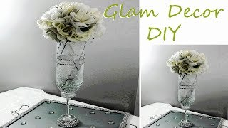 DIY Dollar Tree Frosted Glam Bling Vase