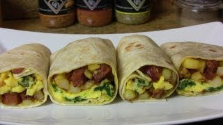 Potato, Egg, & Smoked Sausage Breakfast Burrito- An Easy Breakfast Recipe Cooking With Carolyn