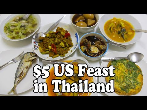 Five Dollar Feast in Thailand. Thai Take-Out Food. Thai Street Food from a Night Market