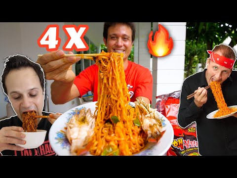 4 X Spicy FIRE RAMEN Challenge 🔥🥵 EXTRA THAI CHILIES🌶️ The Food Ranger Best Ever Food Review Show​