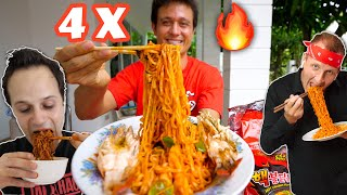 4 X Spicy FIRE RAMEN Challenge 🔥🥵 EXTRA THAI CHILIES🌶️ @The Food Ranger @Best Ever Food Review Show​