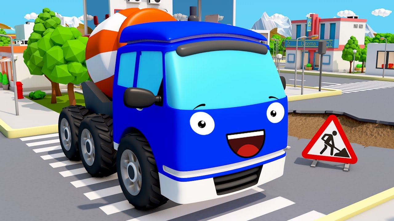 Cement Mixer Truck in the City - Construction Vehicles - Bip Bip Cars & Trucks Cartoon for Kids