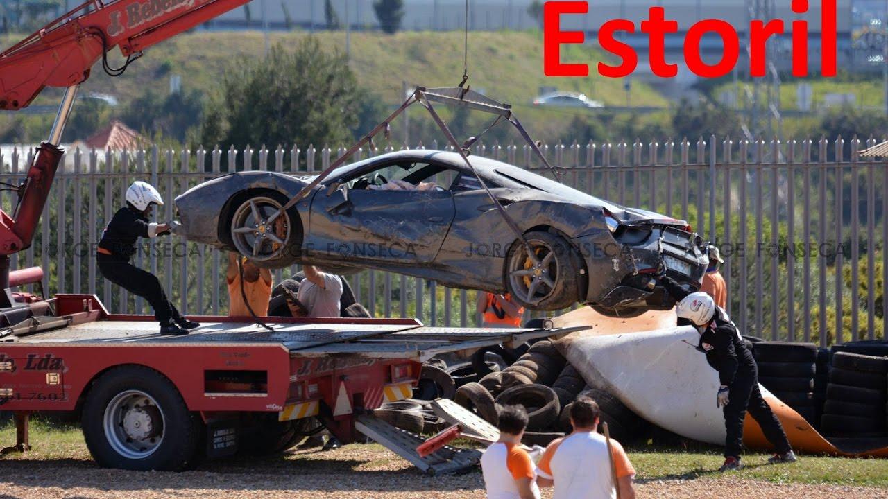 ferrari crash @ estoril 2017 - youtube