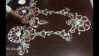 Ratham muggulu || Sankranthi rahtam muggulu || Beautiful flower ratham muggulu
