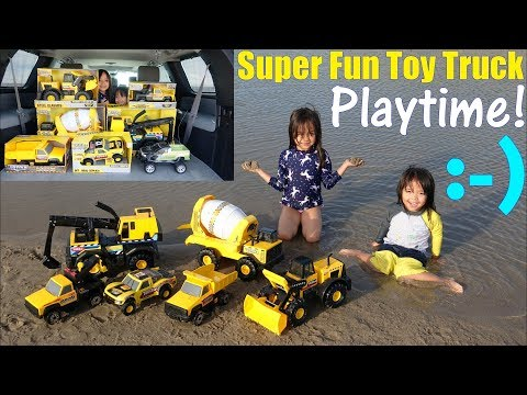Children's Toy TRUCKS: Tonka Trucks Unboxing and Playtime at the BEACH. Family Toy Channel