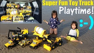 Kids' Fun Toy Playtime at the BEACH! TONKA Trucks Beach Playtime Fun! Kids' Toy Trucks Unboxing