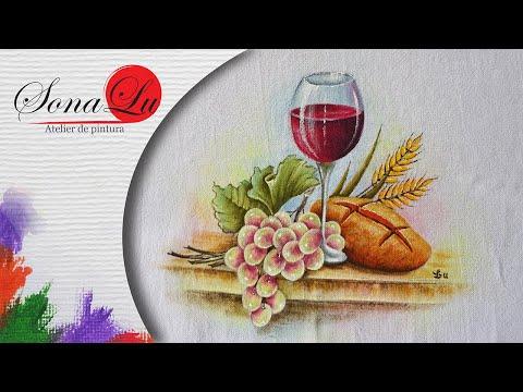 Taça de Vinho, Pão e Uvas em Tecido (Aula 51)