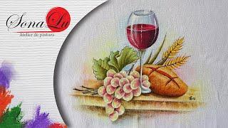 Taça de Vinho, Pão e Uvas em Tecido por Sonalupinturas