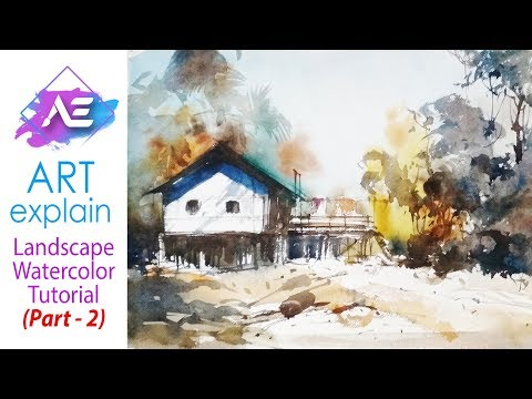 How to Watercolor Village Landscape Painting Tutorial (Part 2) | Art Explain
