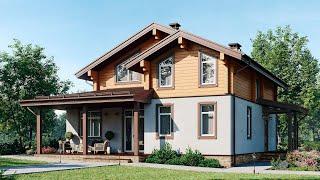Проект двухэтажного дома с террасой. Комфортный и недорогой дом в стиле шале. Ремстройсервис М-400