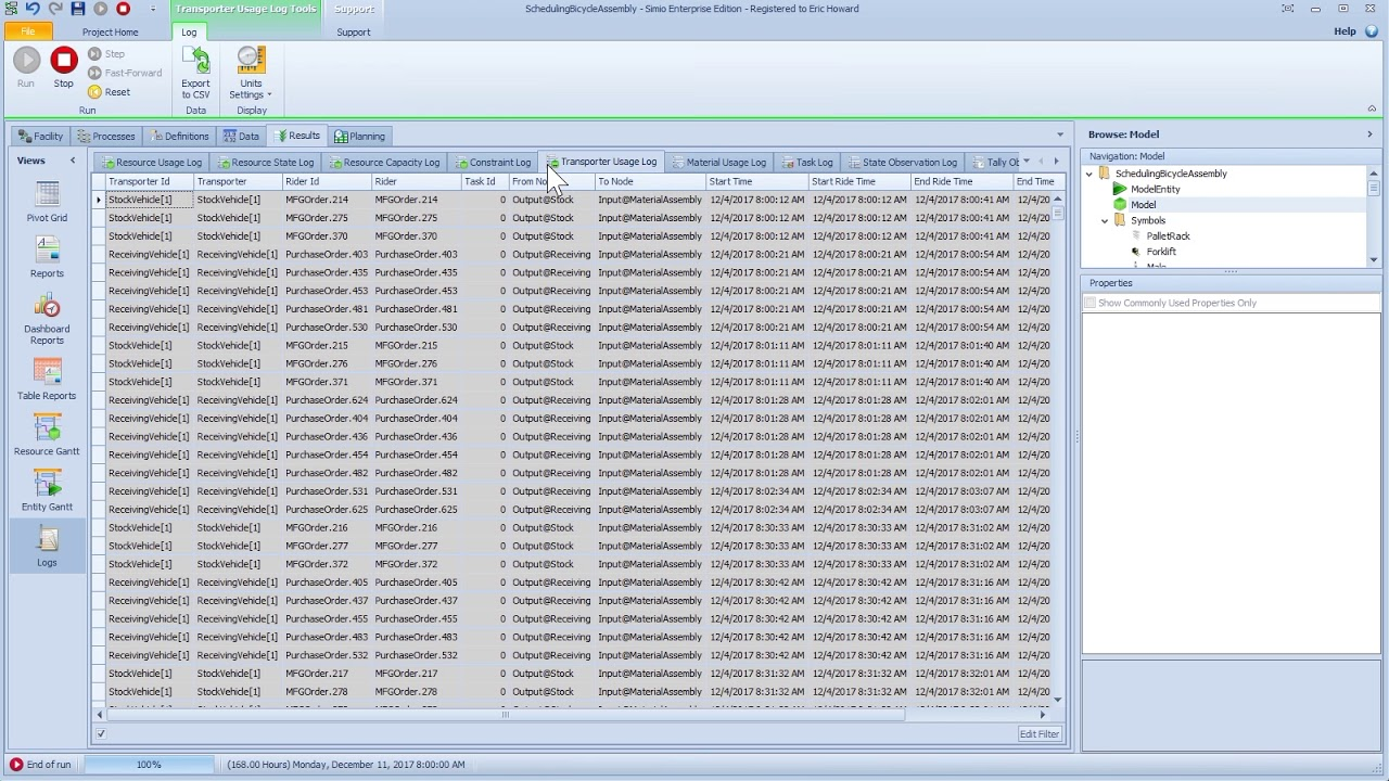 simio enterprise edition task id in logs add column expressions