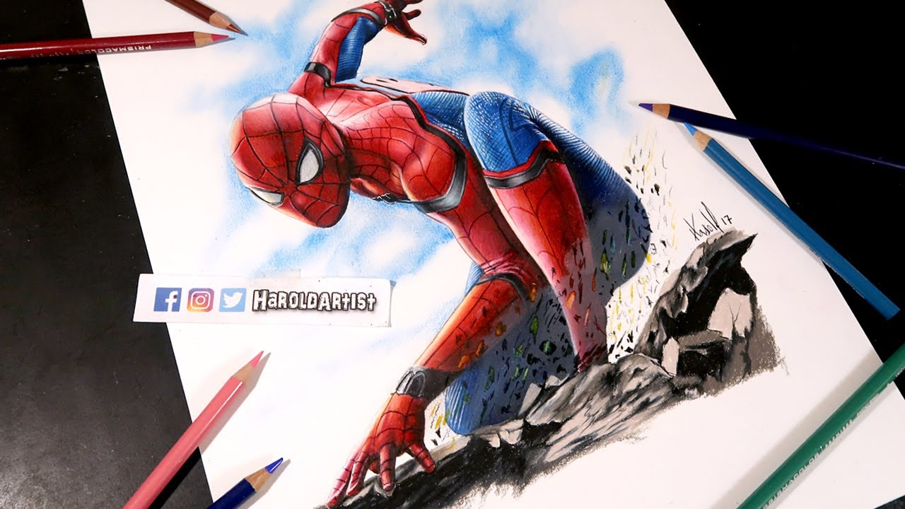 Como Dibujo A Spiderman Homecoming How To Draw Spiderman Youtube