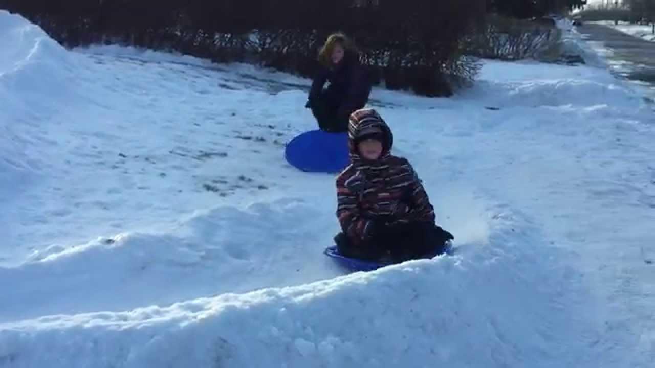 winter fun front yard sledding youtube