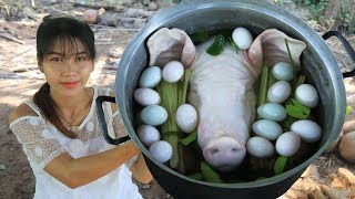 Yummy cooking roasted head pig recipe - Cooking skill