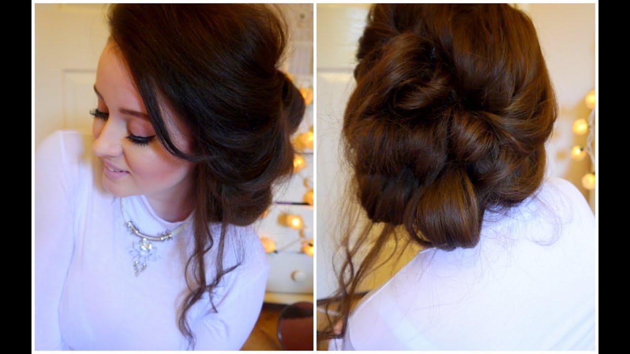 messy side updo hair tutorial