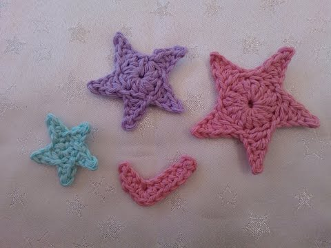 How to crochet my Nike style tick and 3 sizes of stars easy applique