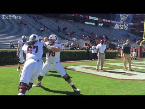SC offensive line warms up with new coach Eric Wolford