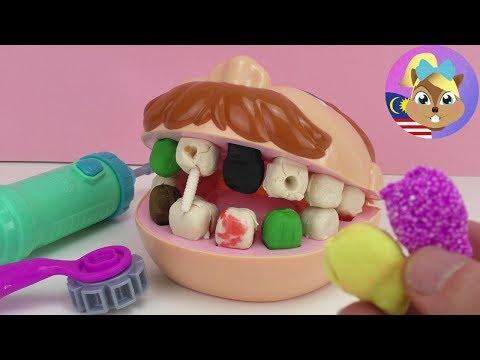 Play Doh Dr Gigi Goyang dengan gigi buruk dari tanah liat - gigi baharu dari Foam Clay