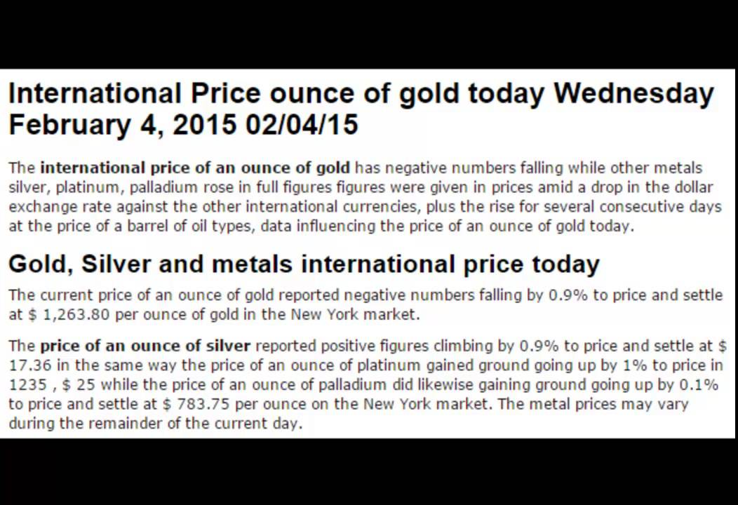 International Price Of Gold Silver Metals Rates Today February Wednesday 4 2017 04 02 15