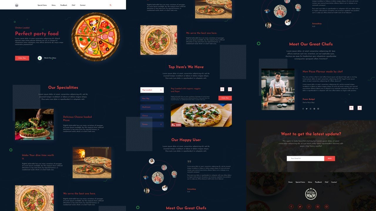 Responsive pizza website using HTML, CSS and jQuery | Part - 1 (Intro)