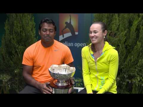 Mixed doubles Martina Hingis and Leander Paes interview - Australian Open 2015