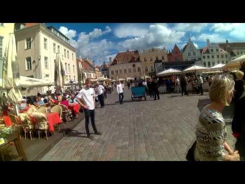 Wearing Military Gear in Tallinn Old Town