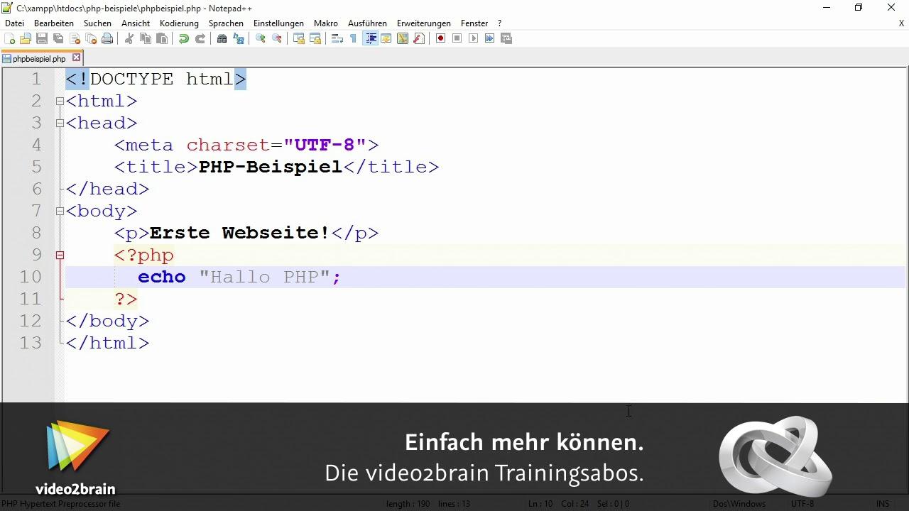 PHP in HTML einbinden