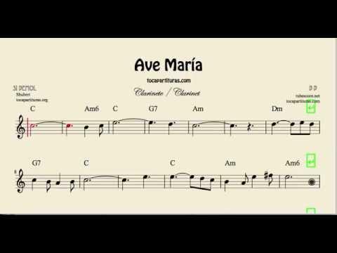 Ave María Partitura de Clarinete con acordes