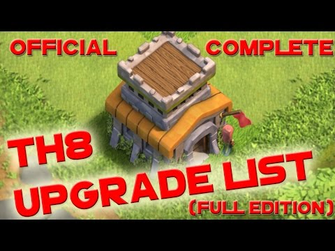 Clash of Clans OFFICIAL COMPLETE Town Hall 8 TH8 Upgrade Order Priority List Guide