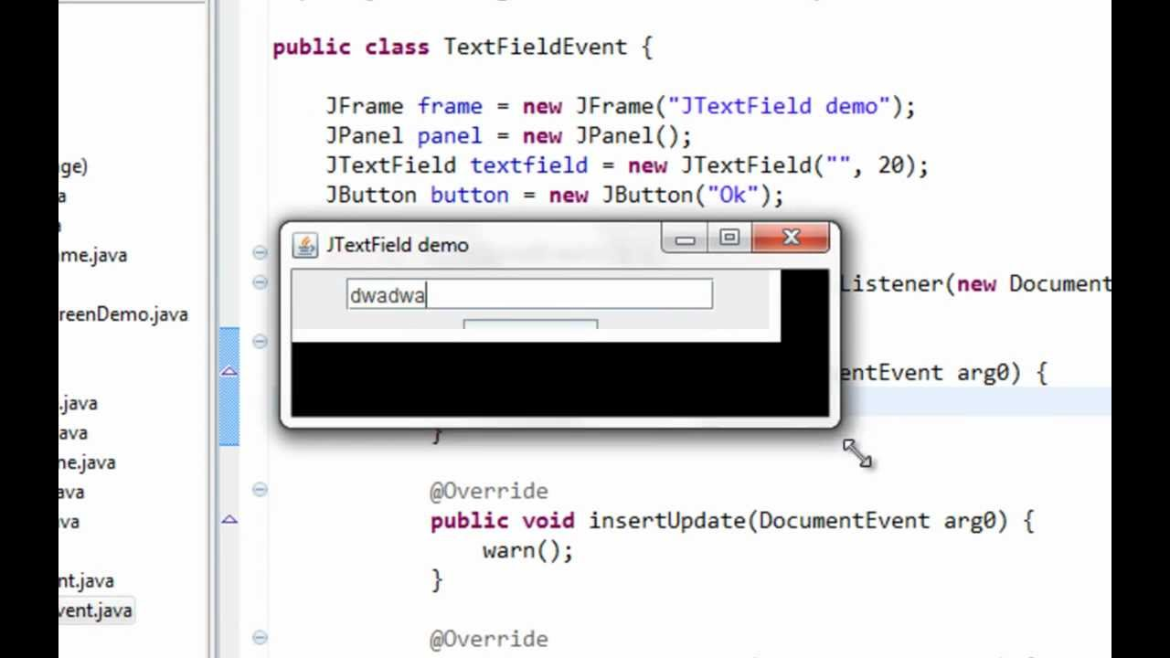 Java swing GUI tutorial #12: JTextField and Action, Focus, Document listener