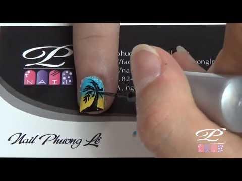 Nail Phương Lê: Thực hành vẽ cây dừa đơn giản lên móng