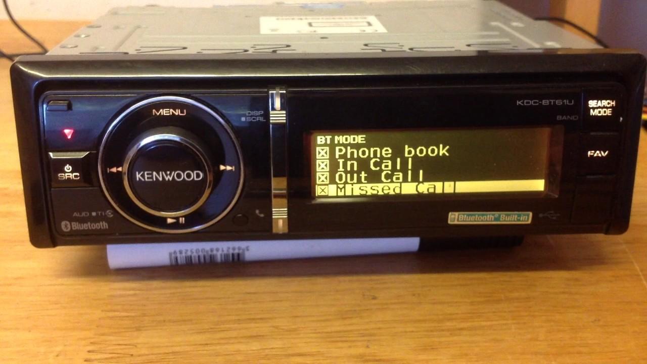 Kenwood Kdc Bt61u Bluetooth Mp3 Wma Aac Cd Receiver