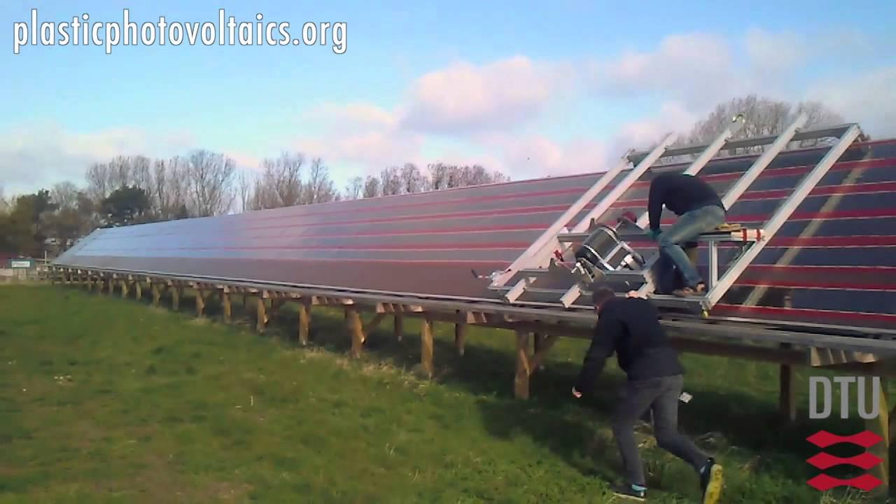 Installation of flexible organic solar cells - YouTube