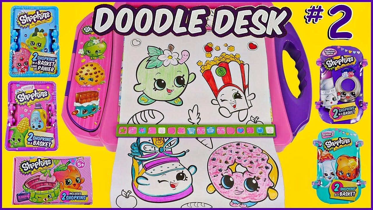 Super SHOPKINS Doodle Desk Travel Art Kit Speed Coloring + 4 ...