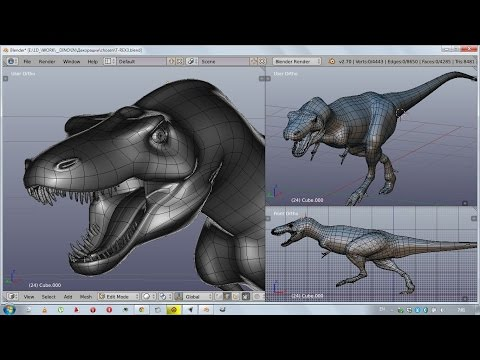 1D Blender static T-Rex dinosaur - stripe organic modeling workflow